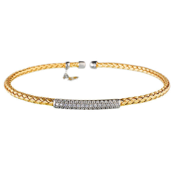 Entwined Dainty CZ Bar Yellow Gold Bracelet - Vamp London