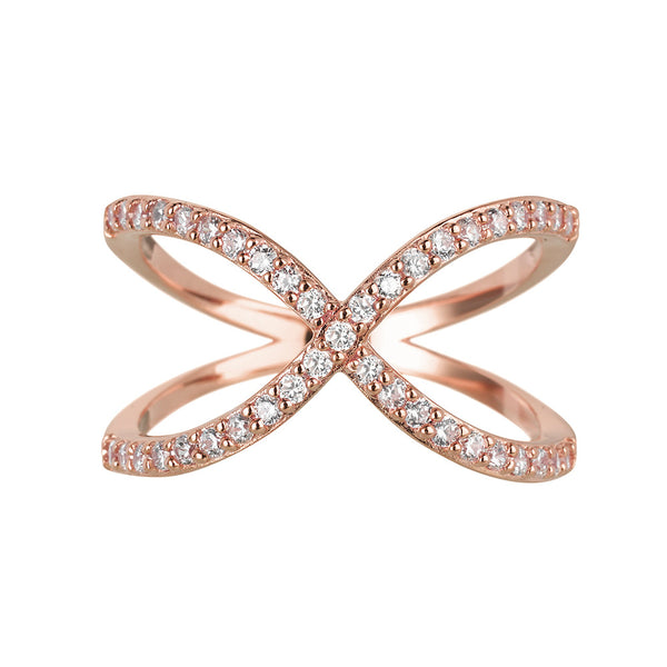 Sahara Crossover Rose Gold Ring - Vamp London