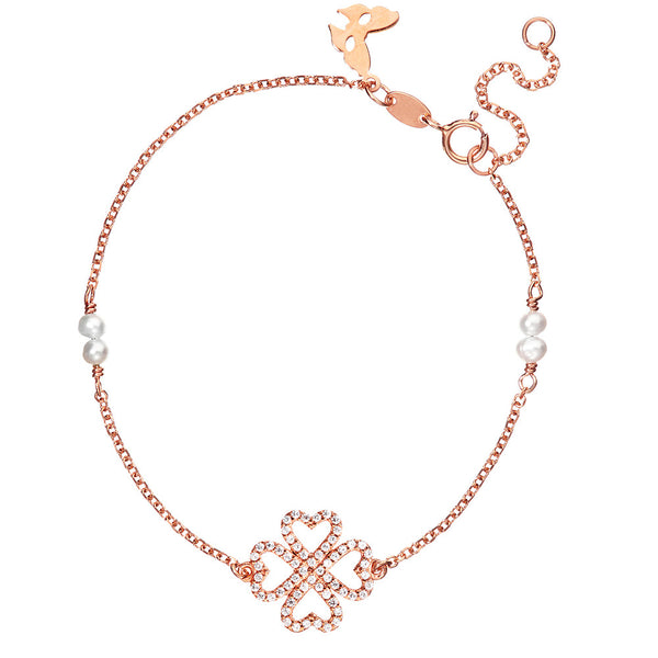 Symbolic Lucky Hearts Rose Gold Bracelet - Vamp London