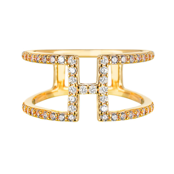 Yellow Gold H Ring | Vamp London Jewellery