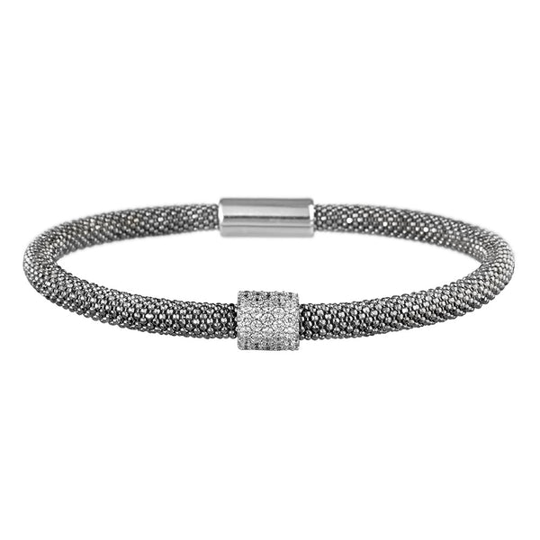 Mesh Dainty 1 CZ Oxidised Bracelet - Vamp London