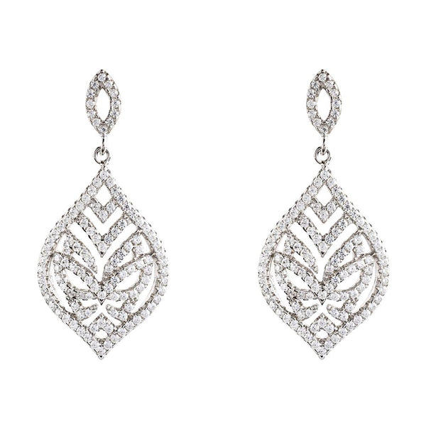 Hidden Mask Tear Drop Silver Earrings - Vamp London