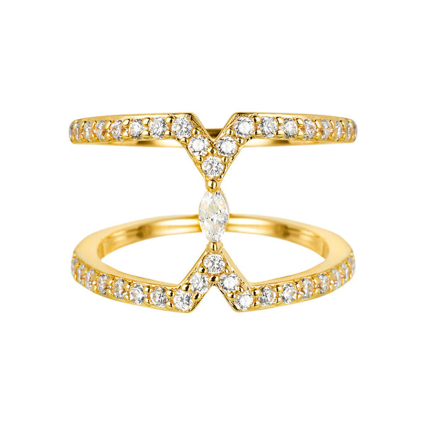Sahara Marquise Yellow Gold Ring - Vamp London