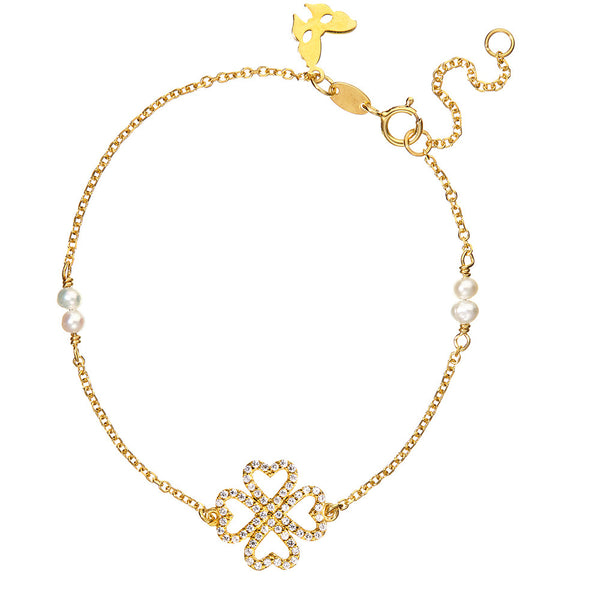 Symbolic Lucky Hearts Yellow Gold Bracelet - Vamp London