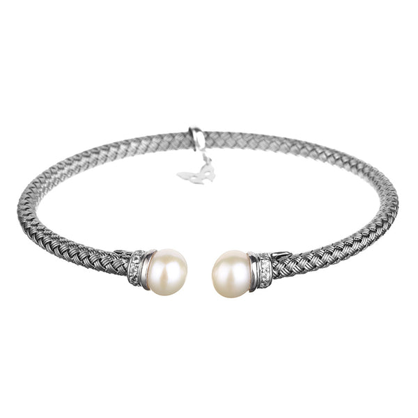 Entwined Pearl Oxidised Bracelet - Vamp London