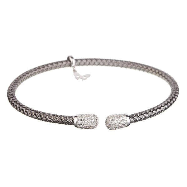 Entwined CZ Ends Oxidised Bracelet - Vamp London