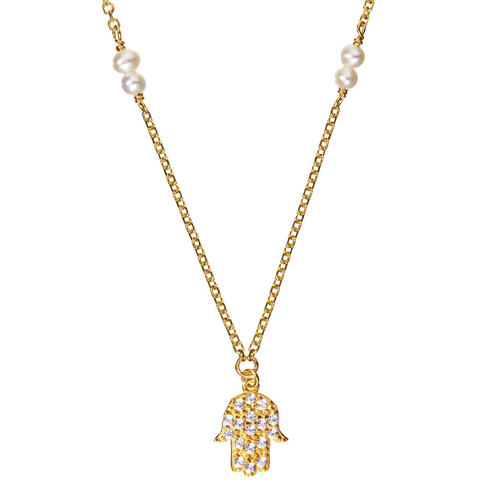 Yellow Gold Hamsa Necklace | Vamp London Jewellery