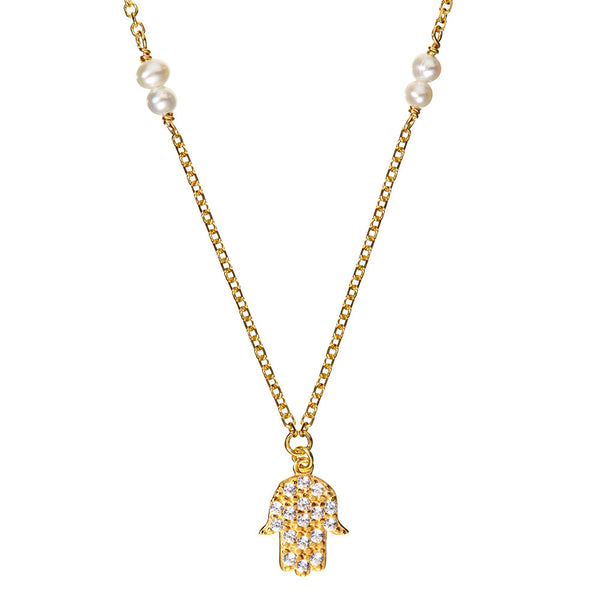 Symbolic Hamsa Hand Yellow Gold Necklace - Vamp London