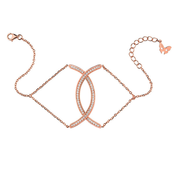 Rose Gold Curve Bracelet | Vamp London Jewellery
