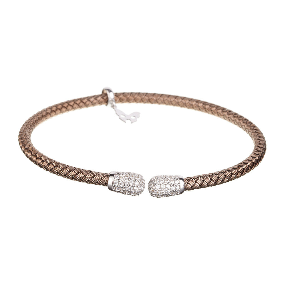 Entwined CZ Ends Chocolate Gold Bracelet - Vamp London