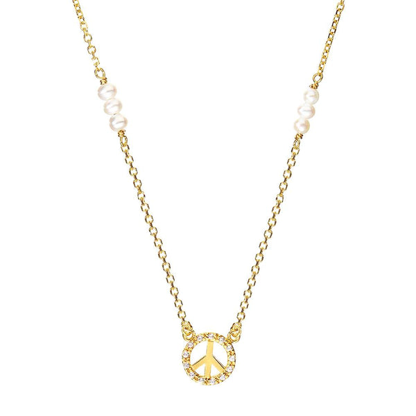 Symbolic Peace Yellow Gold Necklace - Vamp London