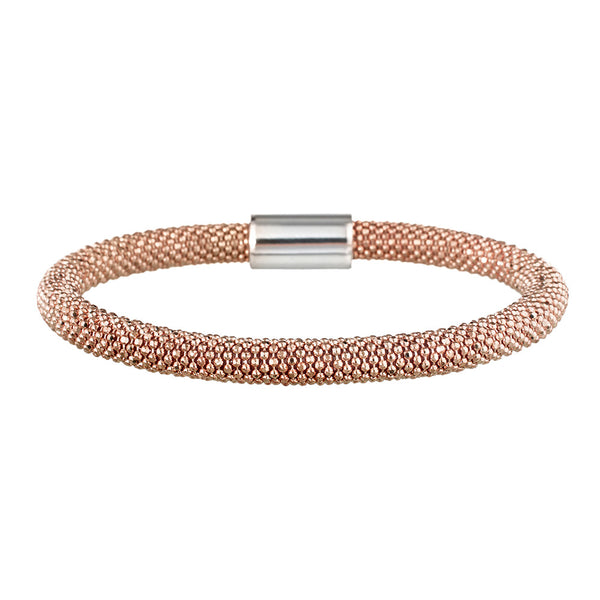 Rose Gold Bold Mesh Bracelet | Vamp London Jewellery