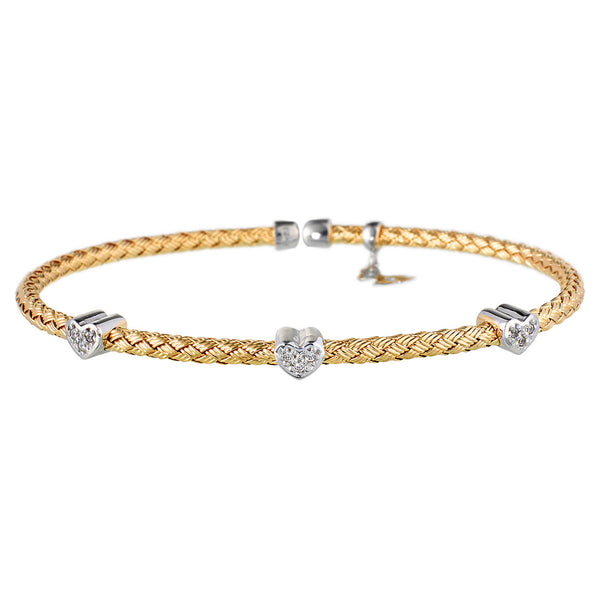 Entwined Dainty CZ Hearts Yellow Gold Bracelet - Vamp London