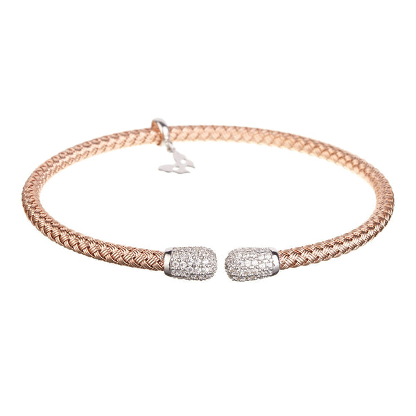 Entwined CZ Ends Rose Gold Bracelet - Vamp London