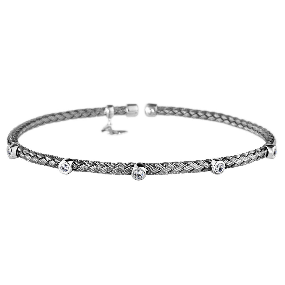 Entwined Dainty 5 CZ Oxidised Bracelet - Vamp London