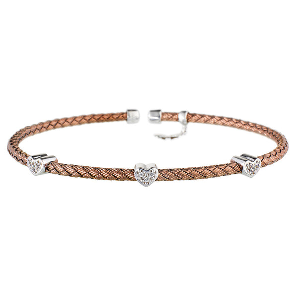 Entwined Dainty CZ Hearts Chocolate Gold Bracelet - Vamp London