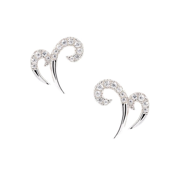 Hidden Mask Double Spike Silver Stud Earrings - Vamp London