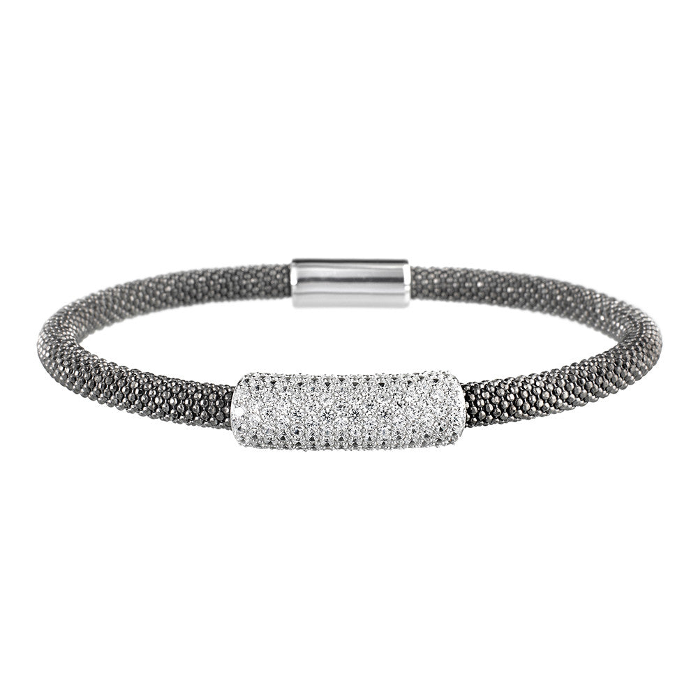 Mesh Dainty Large CZ Oxidised Bracelet - Vamp London