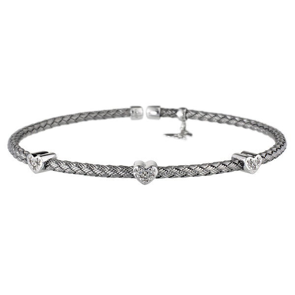 Entwined Dainty CZ Hearts Oxidised Bracelet - Vamp London