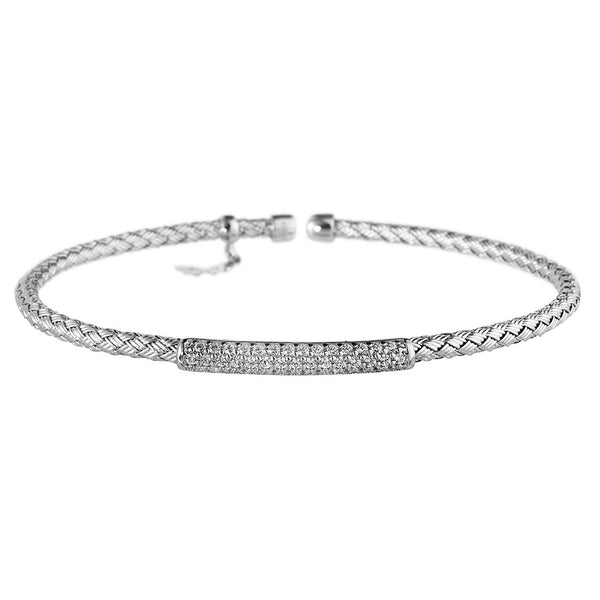 Entwined Dainty CZ Bar Silver Bracelet - Vamp London