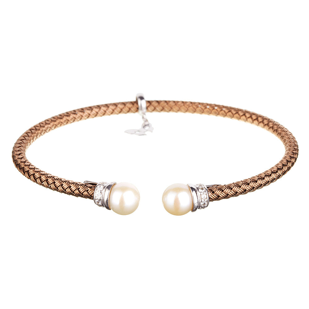 Entwined Pearl Chocolate Gold Bracelet - Vamp London