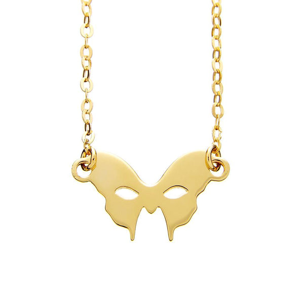 Masquerade Plain Vamp Mask Yellow Gold Necklace - Vamp London