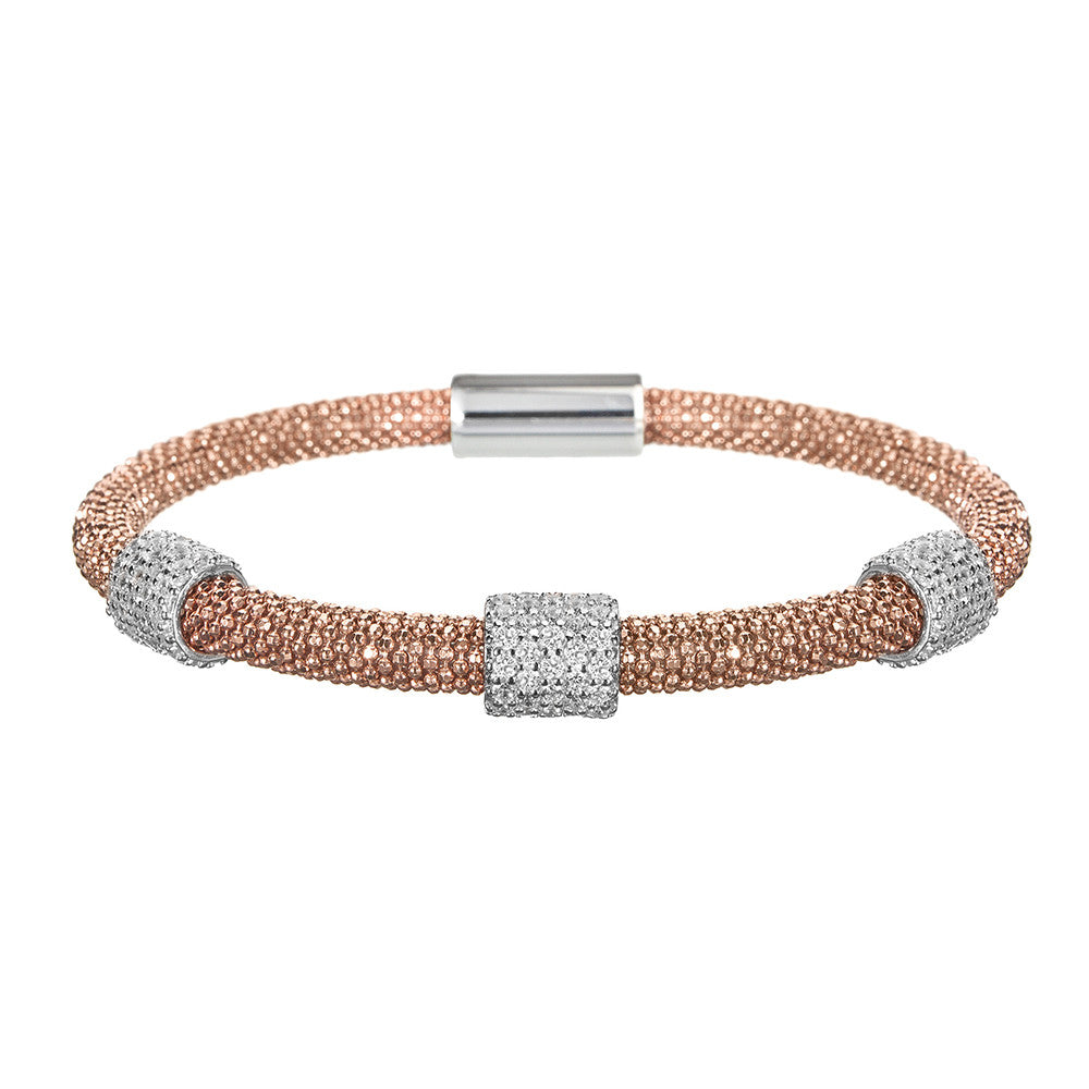 Mesh Dainty 3 CZ Rose Gold Bracelet - Vamp London