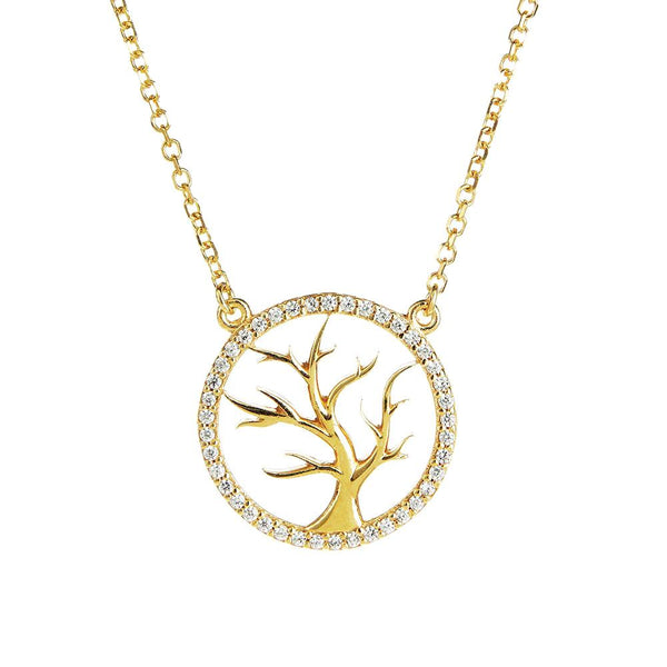 Symbolic Tree of Life Yellow Gold Necklace - Vamp London