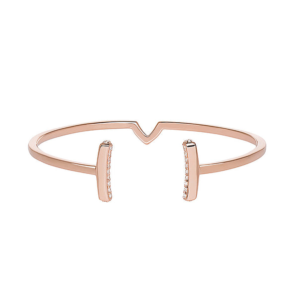 Attitude Rose Gold Cuff Bangle - Vamp London