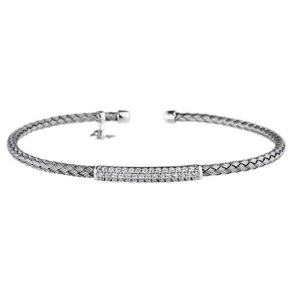 Entwined Dainty CZ Bar Oxidised Bracelet - Vamp London
