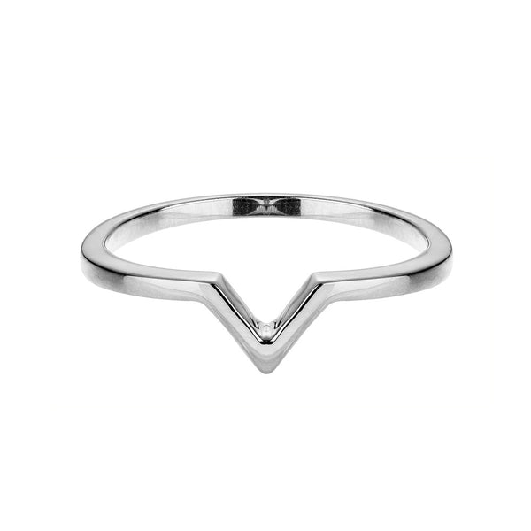 Attitude Silver Stackable V Ring - Vamp London