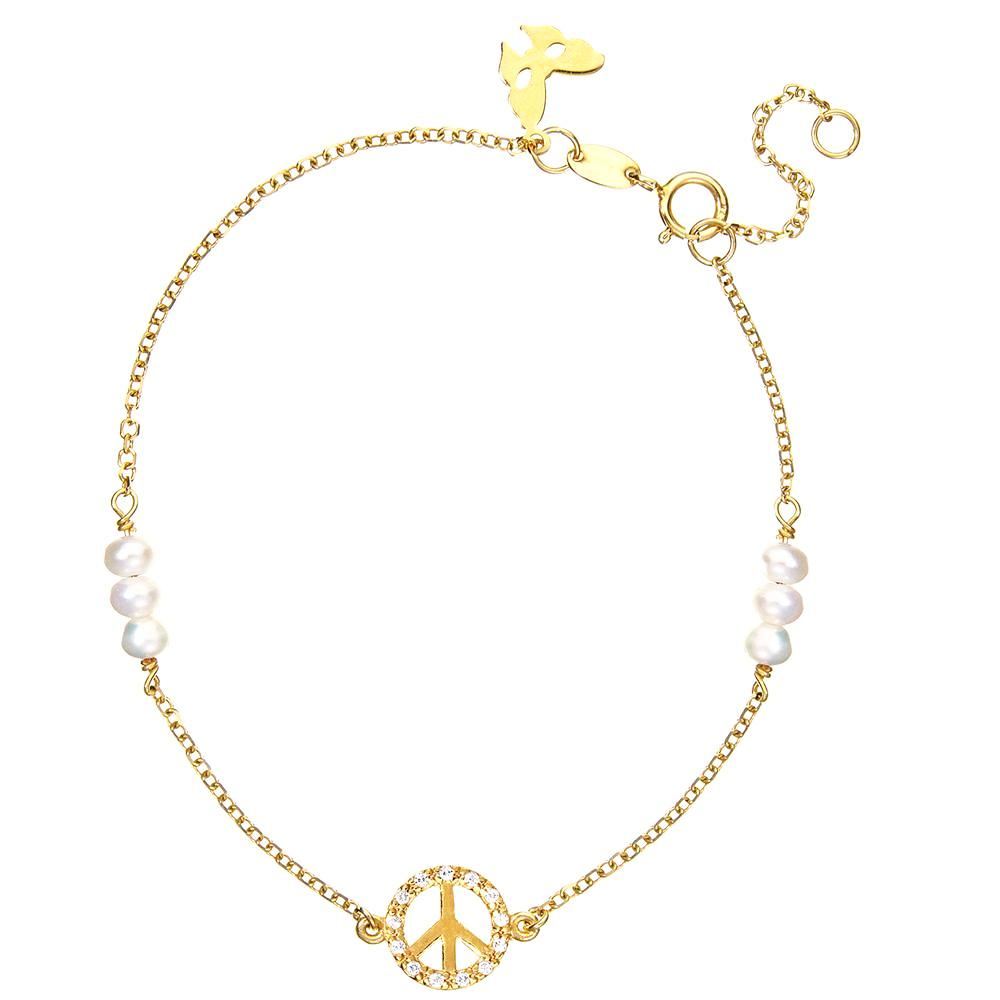 Yellow Gold Peace Bracelet | Vamp London Jewellery