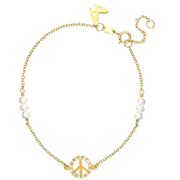 Symbolic Peace Yellow Gold Bracelet - Vamp London