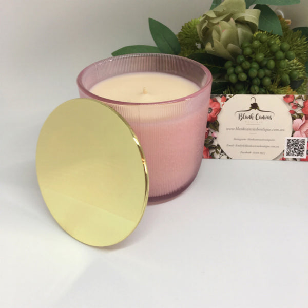 Ribbed pink glass with gold lid- coconut lime