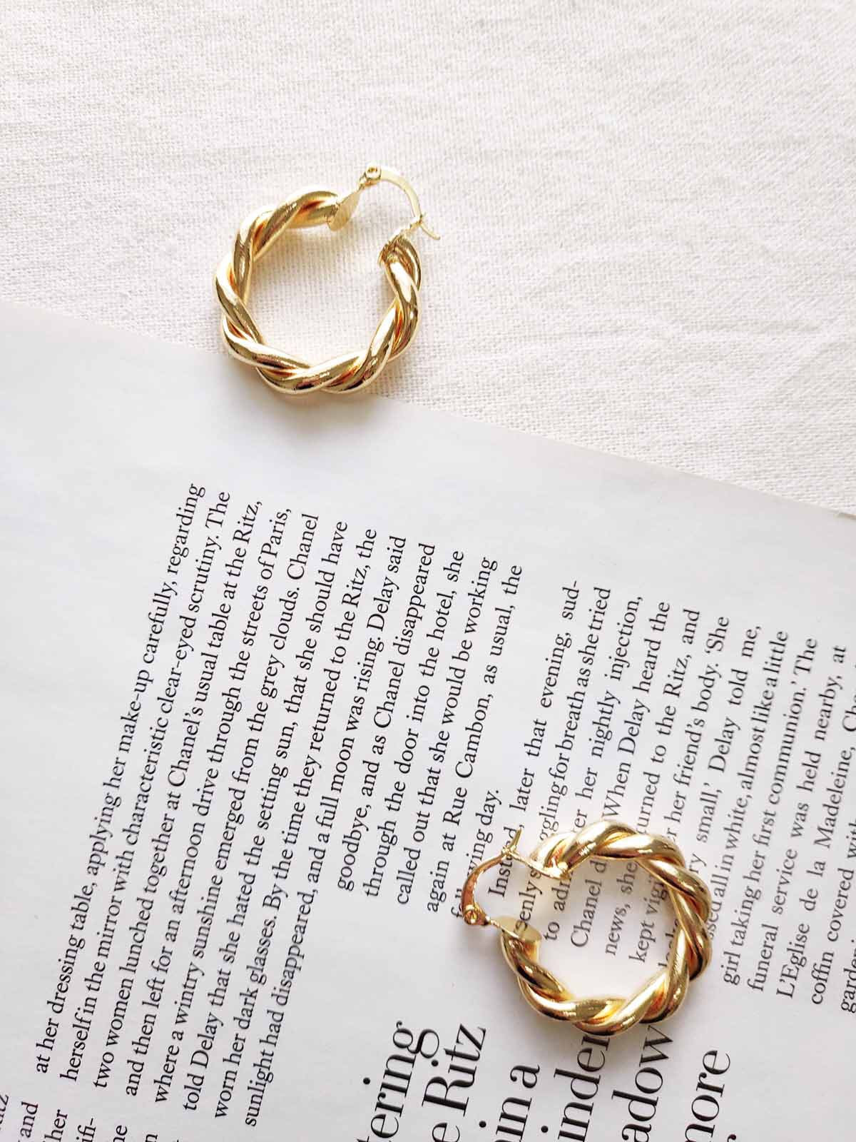 Antonia gold twisted hoop earrings