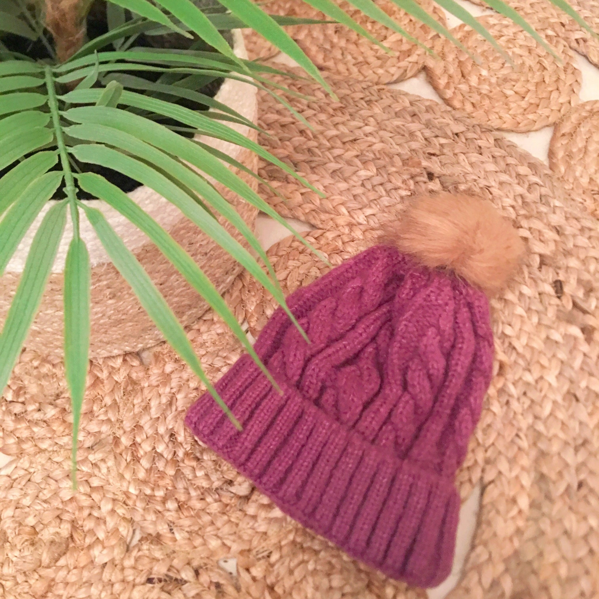 Cable beanie with removable pom- Purple