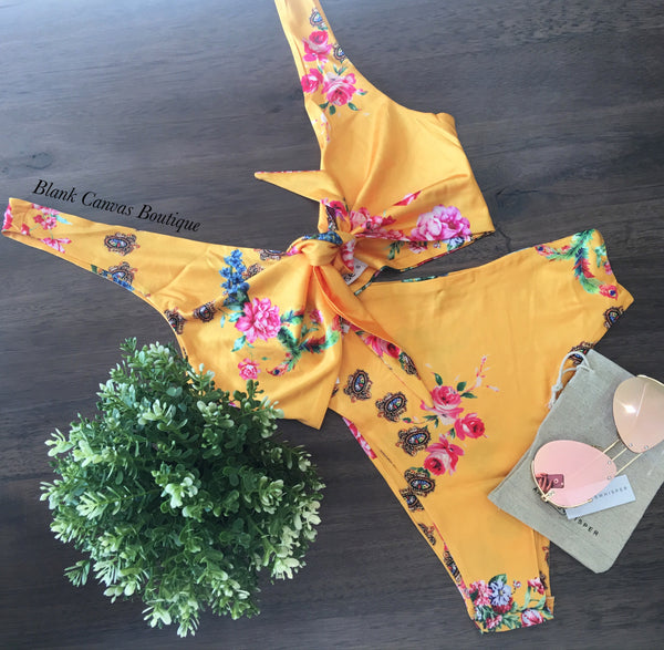 Beach doll bikini- yellow floral