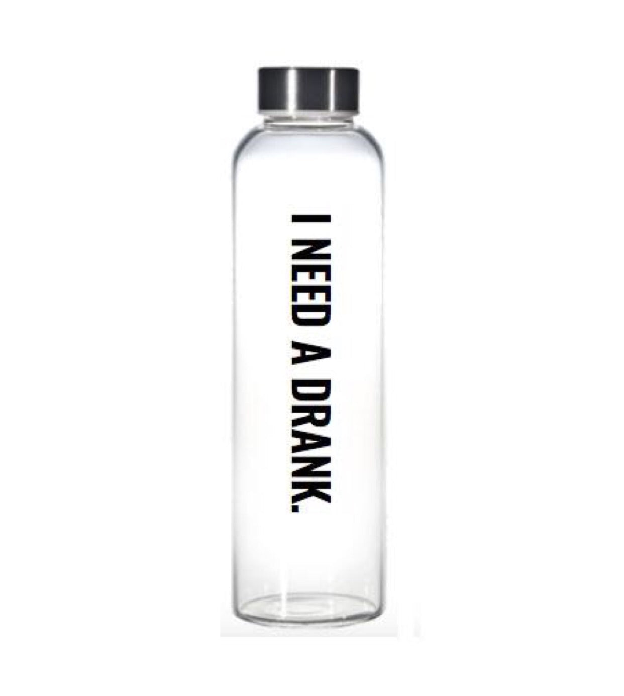 Drank glass water bottle