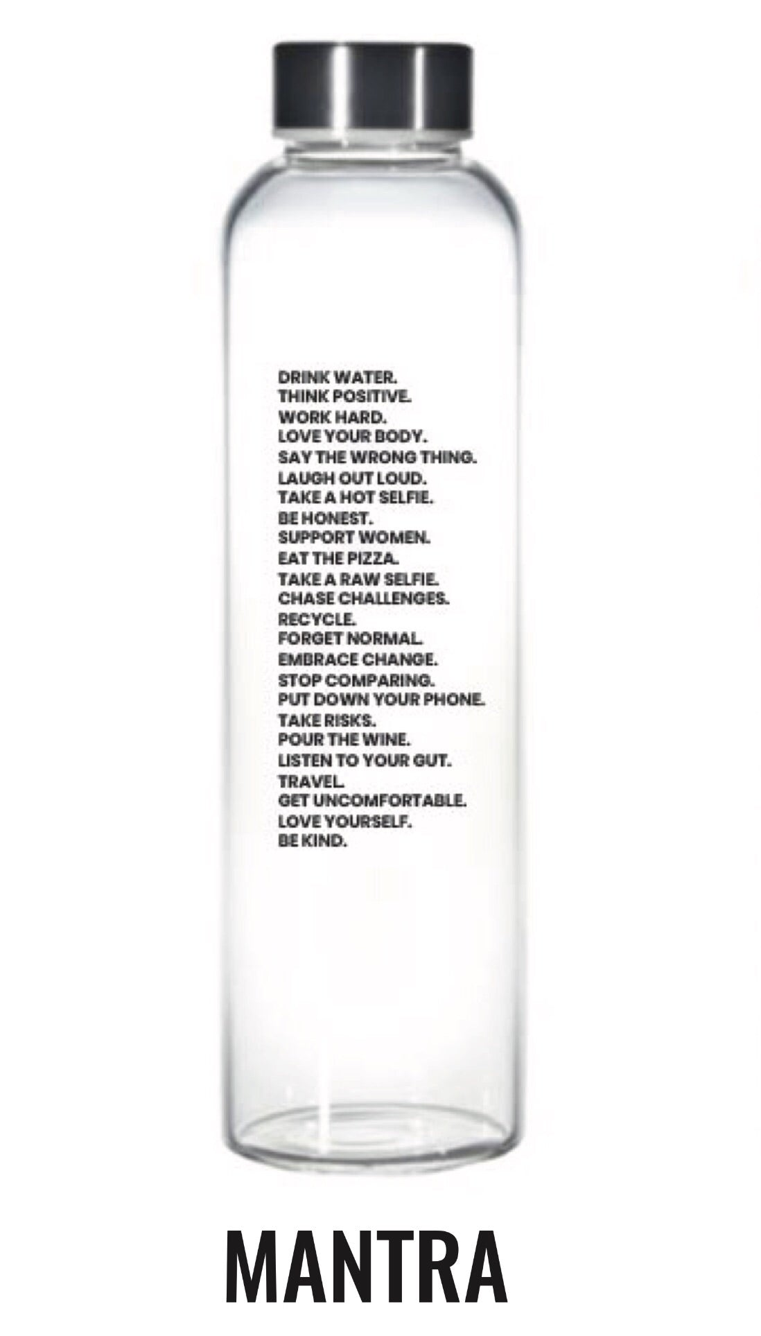 Mantra glass water bottle