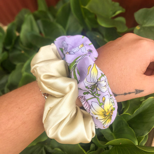 Cream Satin Scrunchie