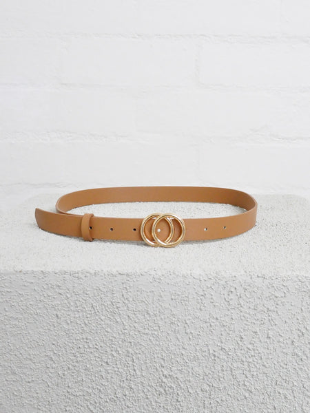 Double circle leather look belt tan