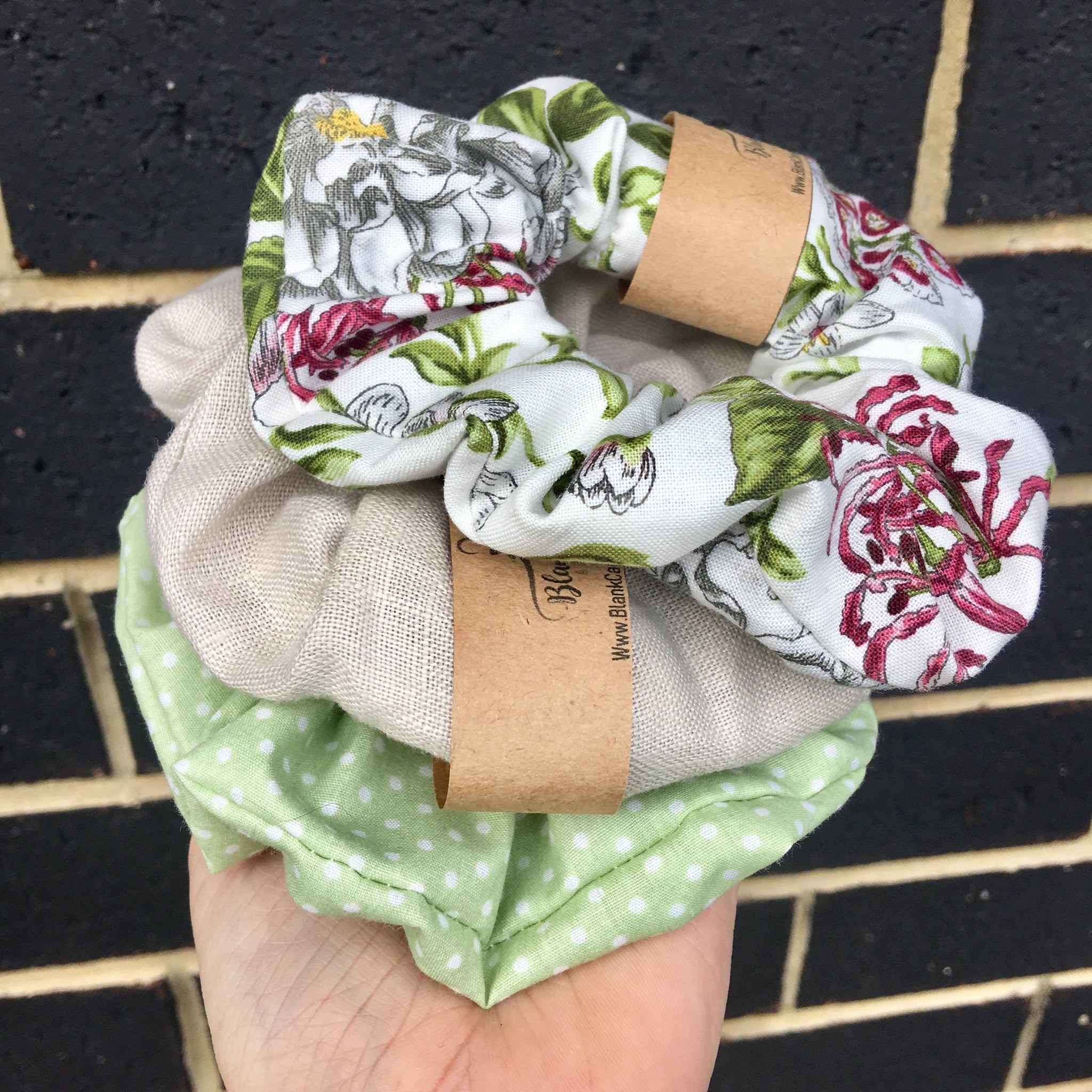 Green Polka Dot Scrunchie