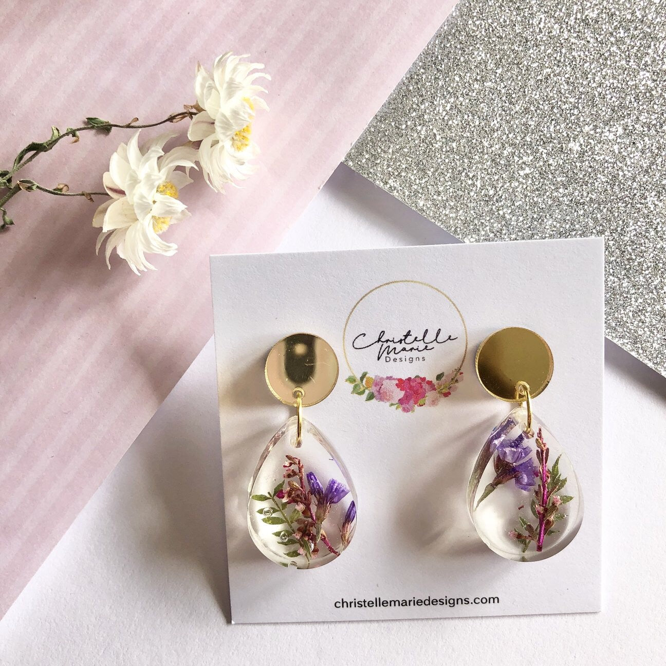 Small tear drop resin dangle, flower garden Earrings- Gold