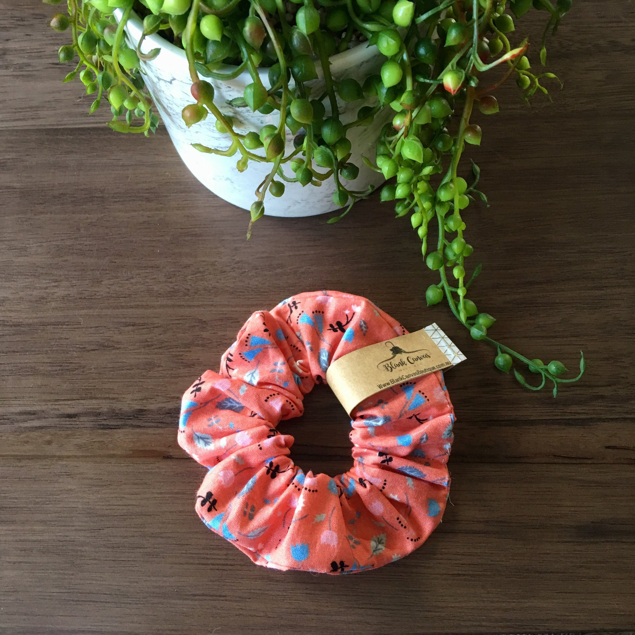 Little Flower Scrunchie- Coral