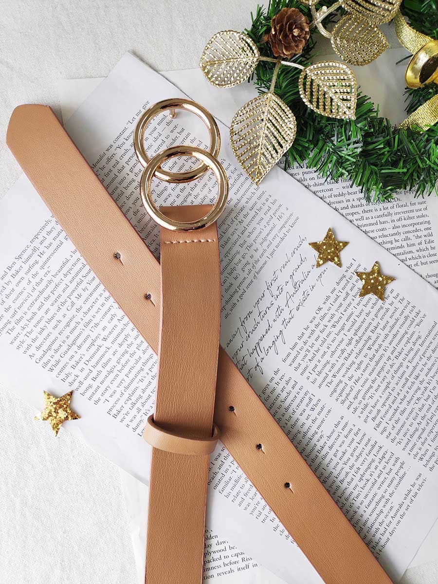 Large Double Circle Leather Look Belt- Tan