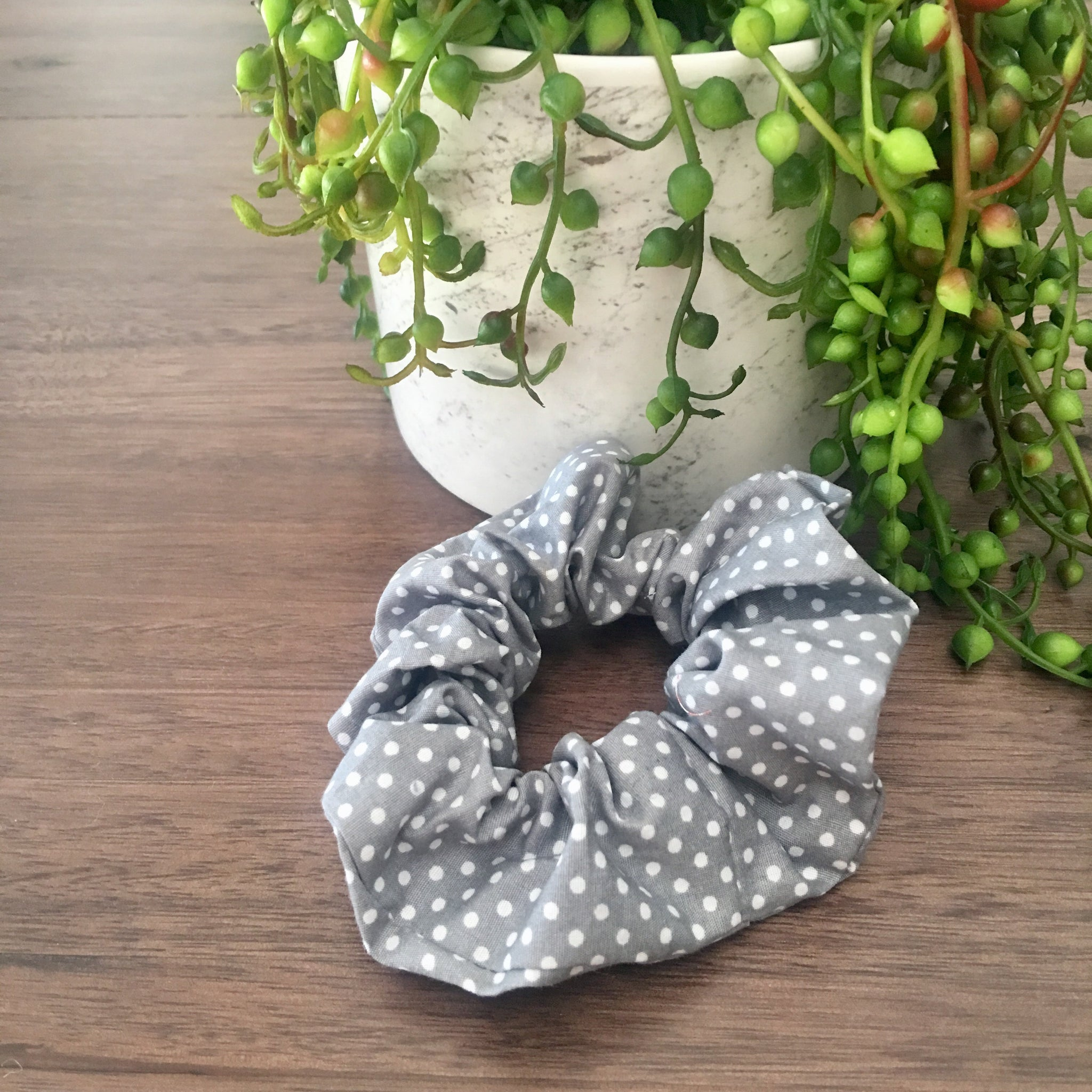 Polka Dot Scrunchie- Blue/Grey