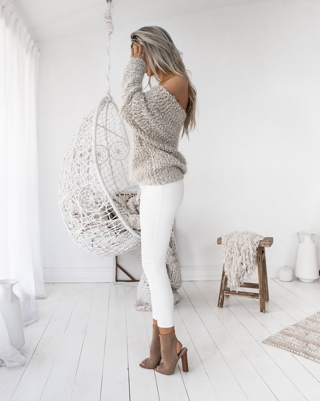 Elkie knit mocha/white