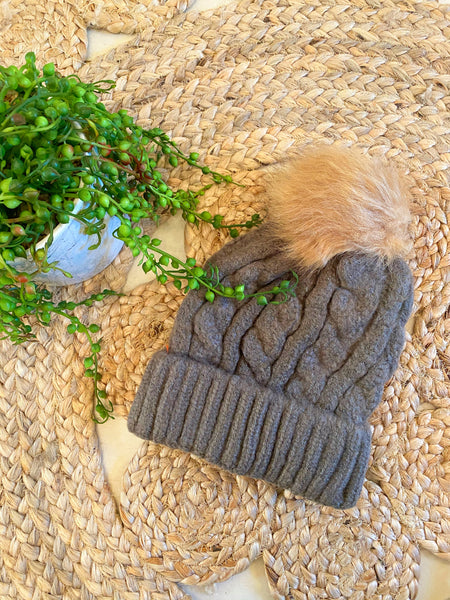 Cable beanie with removable pom- Dark Olive