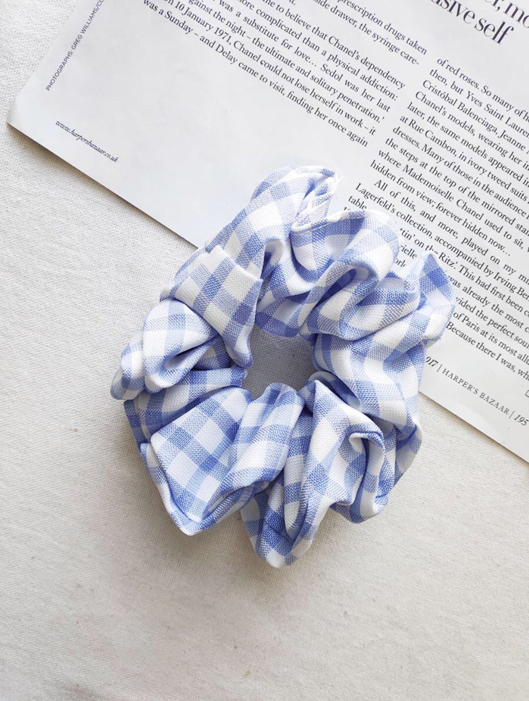 Blue Check Scrunchie