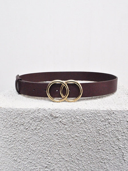 Double Hoop Jean Belt- burgundy